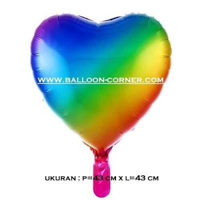 Balon Foil Hati / Foil Love RAINBOW