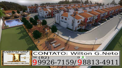 Visão panorâmica das casas e área de lazer.