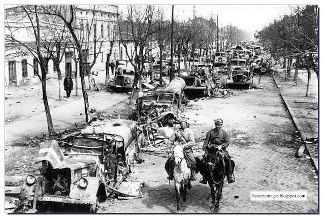 Liberated Odessa 1944. Russian soldiers  horses