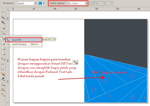 Cara Membuat Desain Cover Buku dengan CorelDRAW X4, mewarnai objek dengan smart fill tool