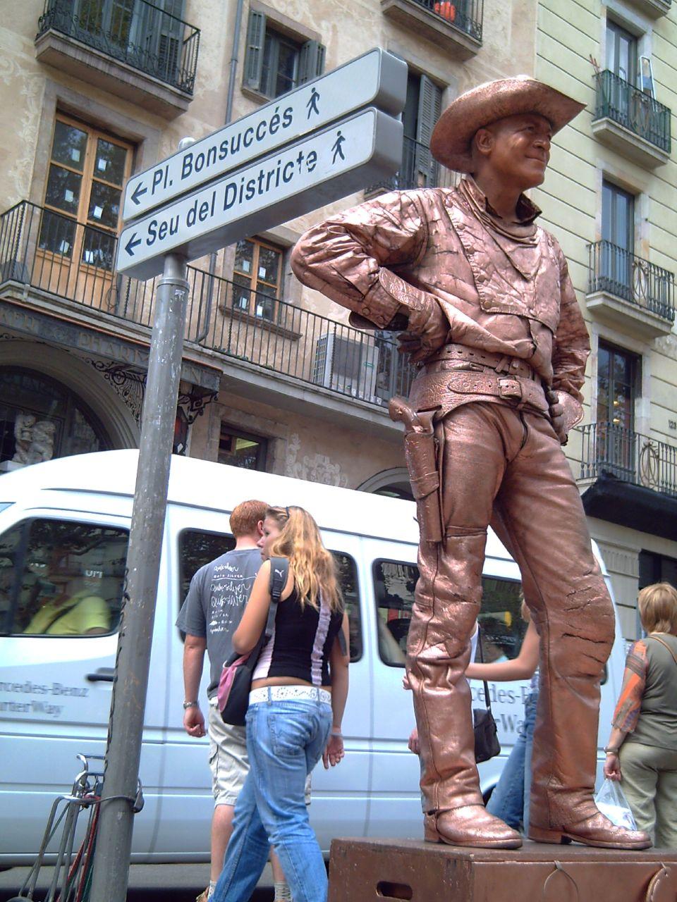 Barcelona Living Statues: Cowboy