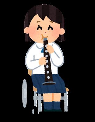 クラリネットを演奏する学生のイラスト(車椅子の吹奏楽)