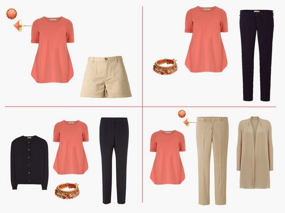 wear coral and black together, wear coral and camel together, wear coral and tan together