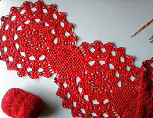 Caminho de Mesa Crochê Decoração Natalina