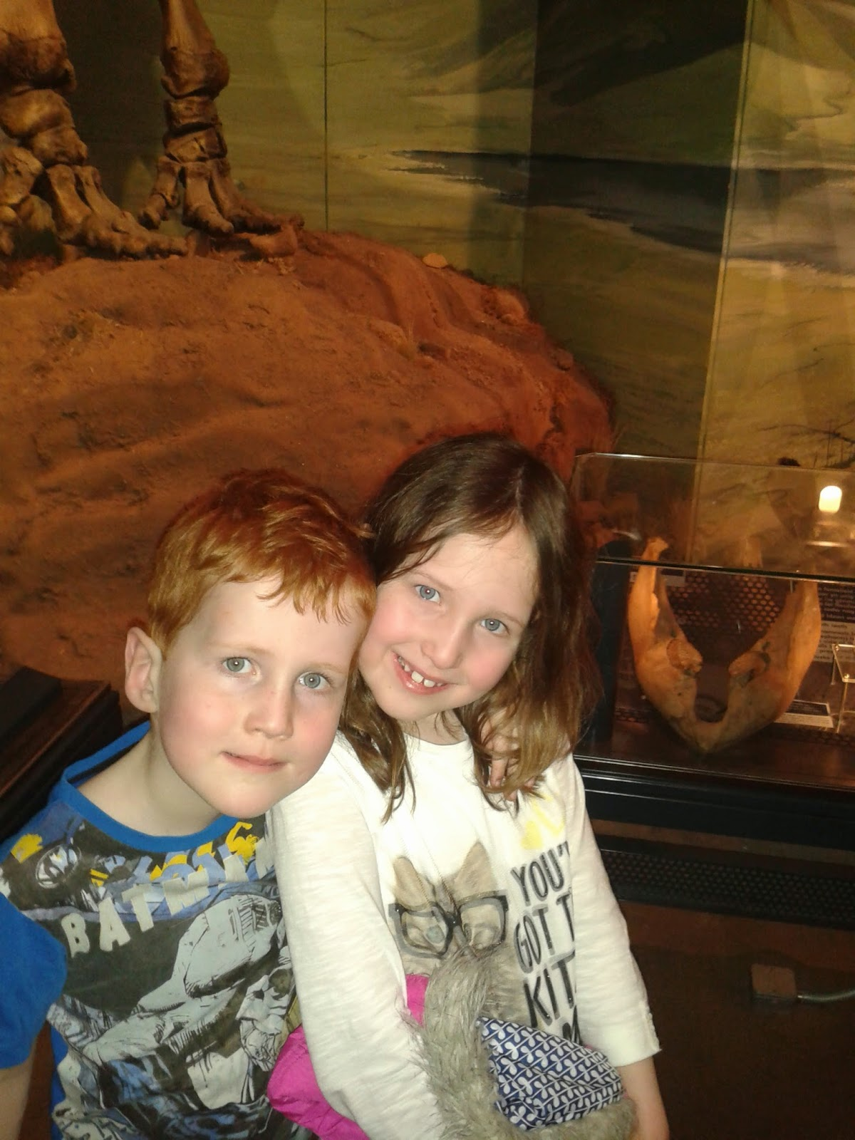 Caitlin and Ieuan with the Dinosaurs