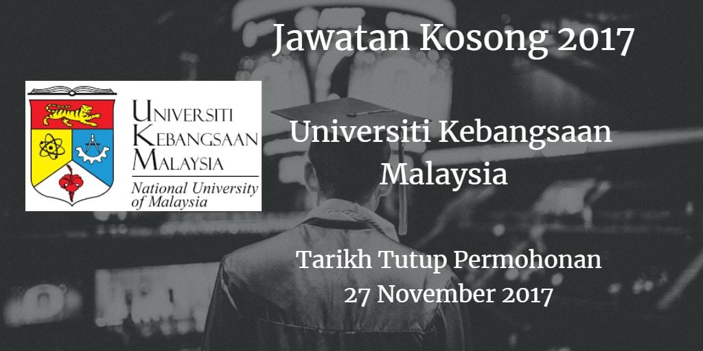 Jawatan Kosong  UKM  27 November 2017