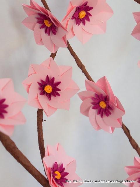 kwiatki, papierowe kwiaty, origami, reczna robota, ozdoby, robotki reczne, warsztaty, dla blogerow, blogerzy razem, poltino