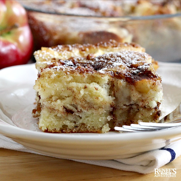 Apple Cinnamon Coffee Cake on plate with fork