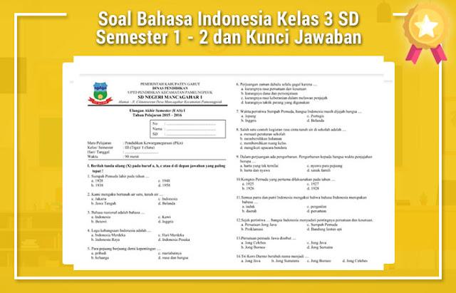 Soal Bahasa Indonesia Kelas 3 SD Semester 1 - 2 dan Kunci Jawaban
