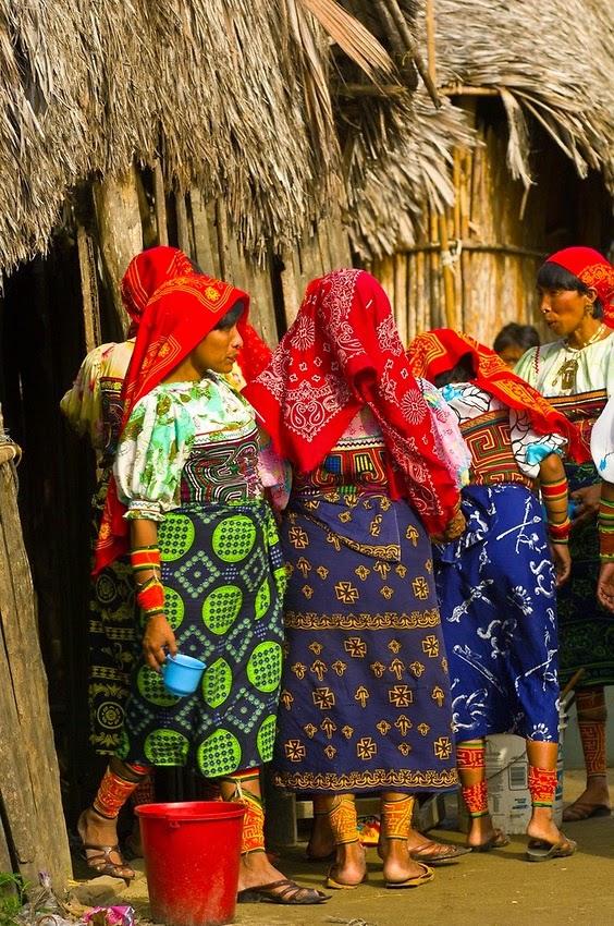 Kuna Indian women in native costume Panama Central America