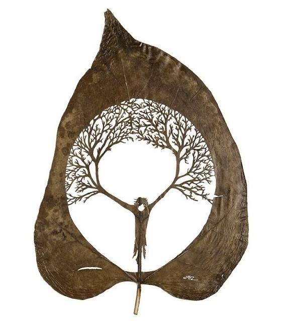 Leaf cutting art by Lorenzo Duran