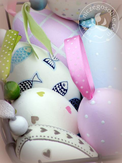 Niczego Sobie ozdoby wielkanocne, pastele, jaja, zajączki, hand-made, elegancja, kolory, Wielkanoc, groszki, kratki