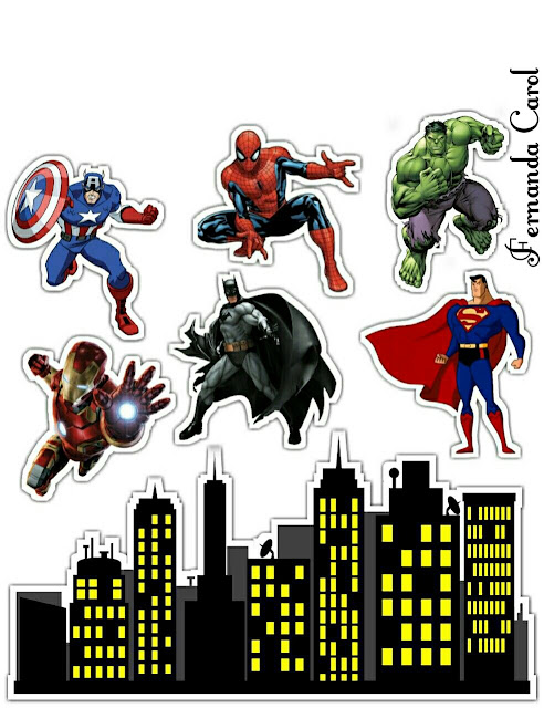 Superheroes Party Free Printable Cake Toppers.