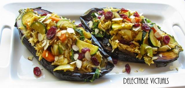 Rice Pilaf-Stuffed Baked Globe Eggplant