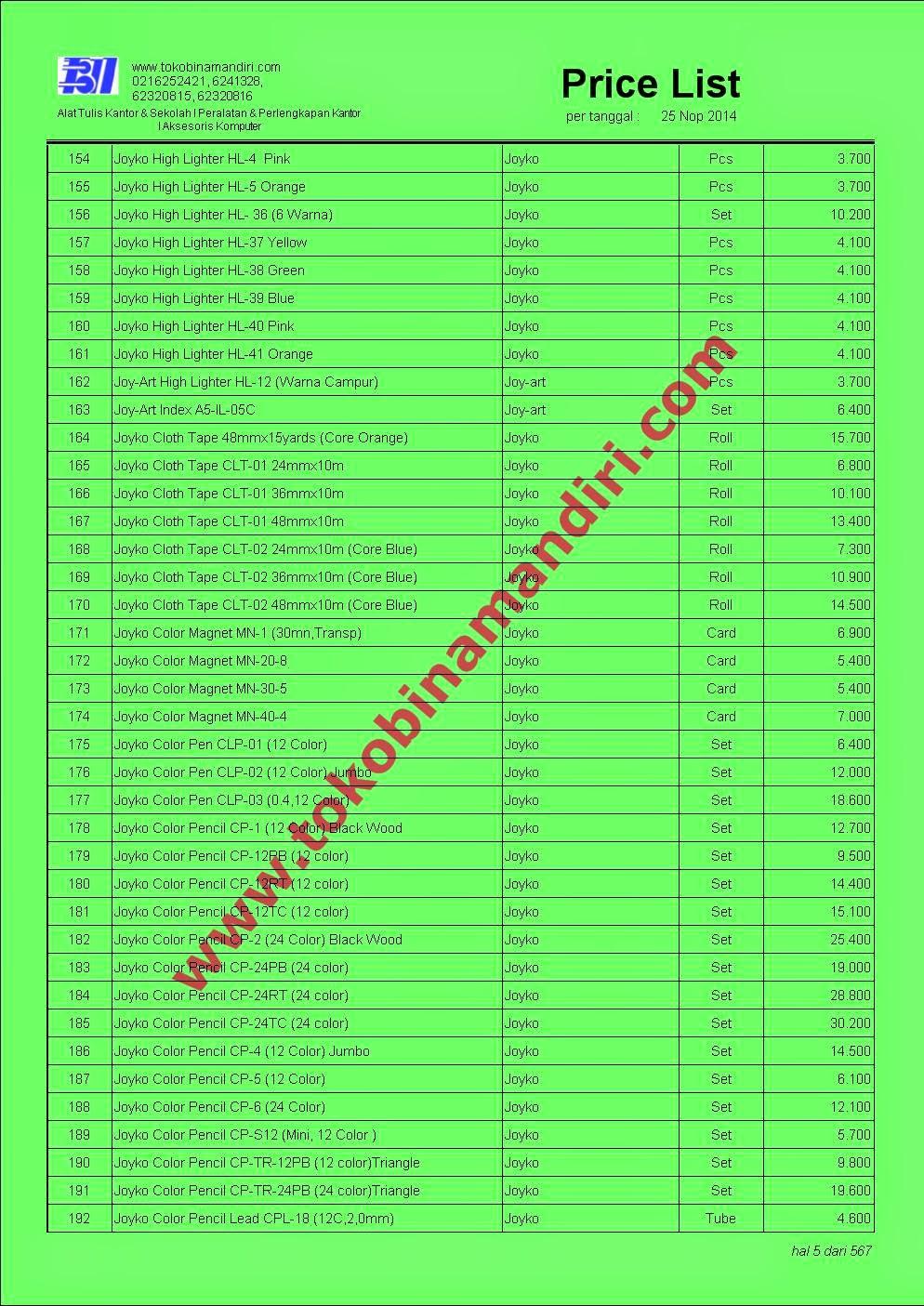 Daftar Harga Alat Tulis Kantor Joyko
