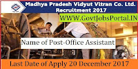 Madhya Kshetra Vidyut Vitaran Company Limited Recruitment 2017– 145 Office Assistant