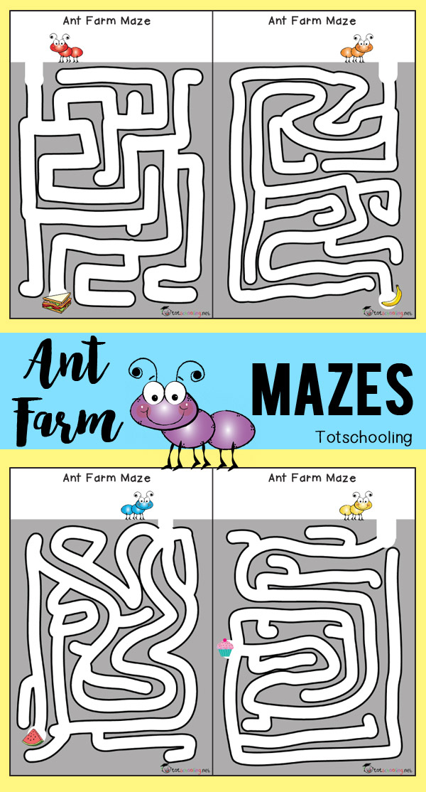 FREE printable ant farm mazes for preschoolers to practice pre-writing and fine motor skills. Great activity for a bug theme or Spring/Summer learning.