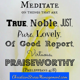 Meditate on things that are true, noble, just, pure, lovely, of good report, virtuous, praiseworthy (Philippians 4:8)