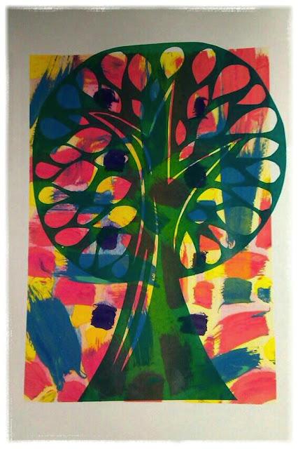 Colourful tree print