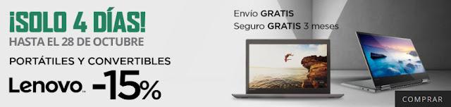 Top 5 ofertas ¡Solo 4 días! -15% portátiles y convertibles Lenovo de El Corte Inglés