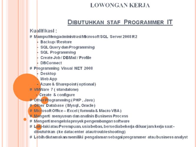 Lowongan Kerja Programmer PT Kliring Berjangka Indonesia (Persero)