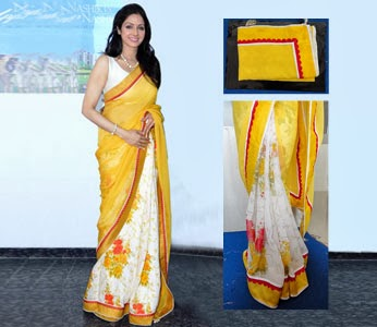 SRIDEVI IN YELLOW  HALF AND HALF SAREE