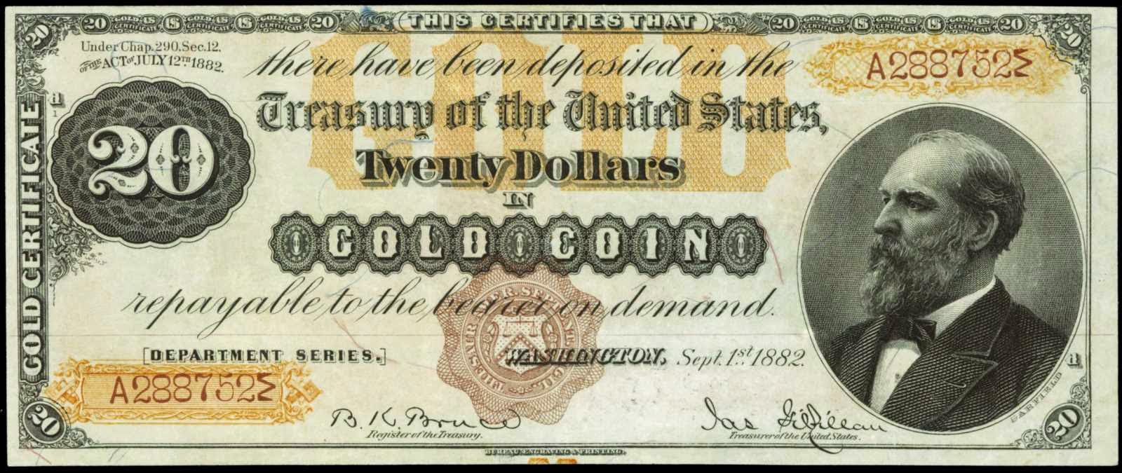 US currency 1882 Twenty Dollar Gold Certificate, James Garfield