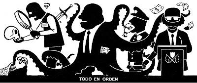 Caricaturización de la corrupción, con el corruptor en forma de pulpo, asesinando al periodista, sobornando al policía y callando al político. Todo con siluetas en blanco y negro.