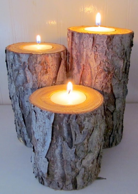 The Peaceful Axolotl: Free, Free Log Candle Holders