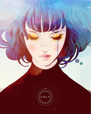 A watercolor painting of a woman with a tear running down her cheek and the Gris logo below.