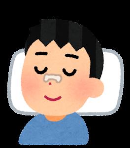 鼻にいびき防止テープを貼って寝る人のイラスト(男性)