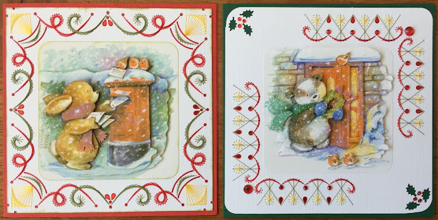 Bunny and Badger Paper Embroidery Christmas Card