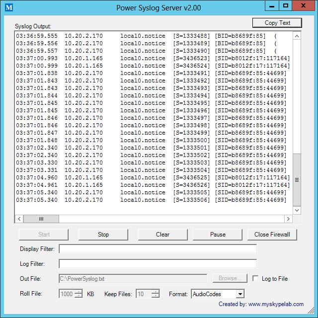 Power Syslog Server My Skype Lab