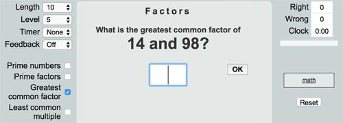 Ejercicio online para completar con el MCD de dos números