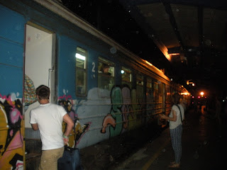 Night train in Novi Sad, Serbia