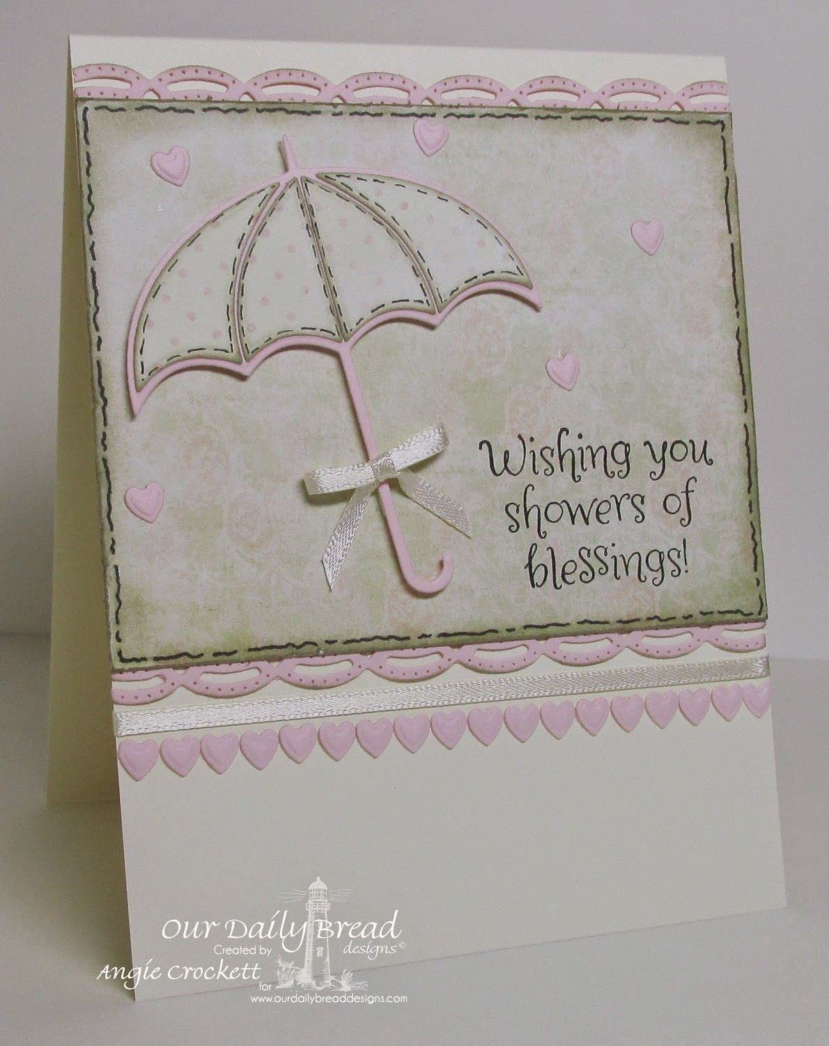 ODBD Custom Umbrellas Dies, ODBD Shower of Blessings, ODBD Custom Beautiful Borders Dies, Card Designer Angie Crockett