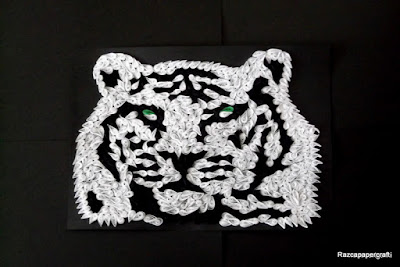 Quilled black and white tiger