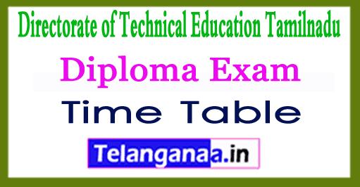 TNDTE Diploma Exam Time Table 2018 Admit Card
