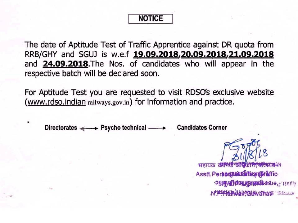 N F Railway Employees Information System: Aptitude Test of