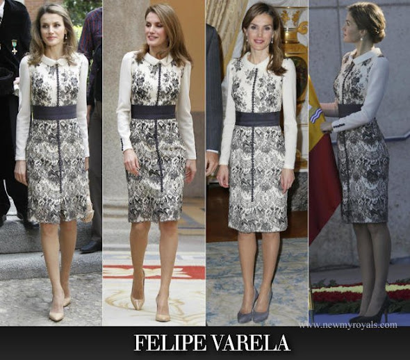 Queen Letizia wore Felipe Varela dress