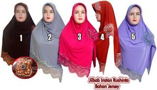 jilbab instan modis rushinta bahan jersey