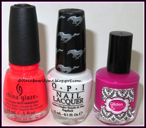 China Glaze: Papa Don't Peach; OPI: Angel with a Leadfoot; Glisten & Glow: ATV in Aruba