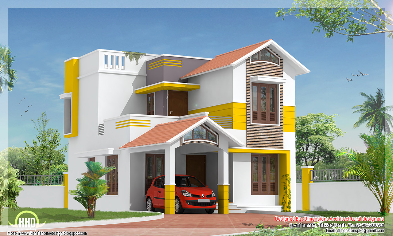 Beautiful 1500 square feet villa design kerala home for Indian house outlook design