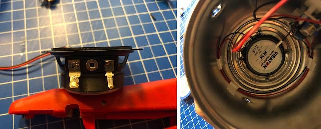 Die beiden Kabel vom Verstärker zum Lautsprecher werden angelötet. Der breitere Anschluss ist +