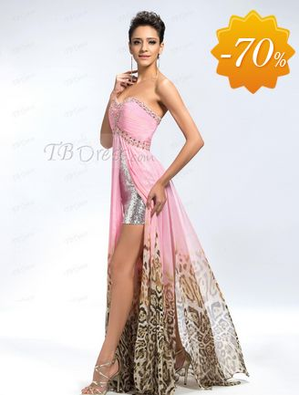 Fabulous A-Line Pattern Print Front Split Sequins Evening Dress
