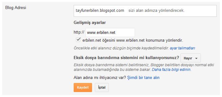 Blogger'dan Blog Açmak ve Alan Adını Yönlendirmek