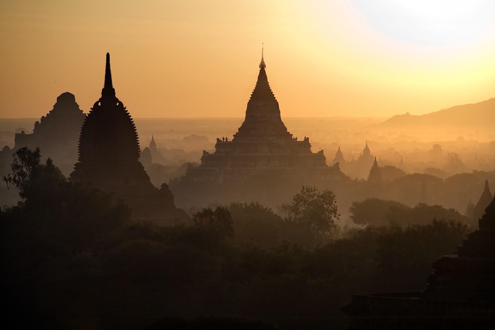 pagody,bagan,birma,świt