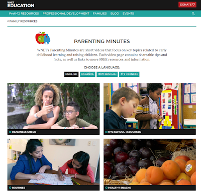 Screenshot of the parenting minute website. Shows topics like routines and healthy snacks. Also shows that the tips are available in these languages: ENGLISH, ESPAÑOL, BENGALI, CHINESE