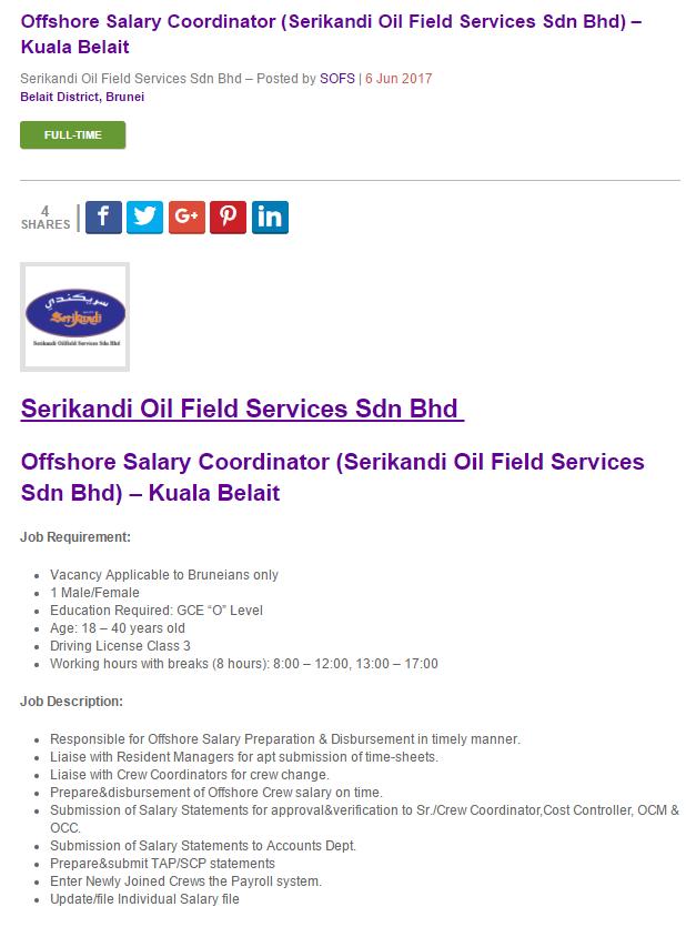 Oil &Gas Vacancies: Offshore Salary Coordinator (Serikandi