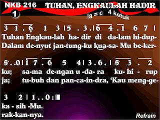 Lirik dan Not NKB 216 Tuhan, Engkaulah Hadir